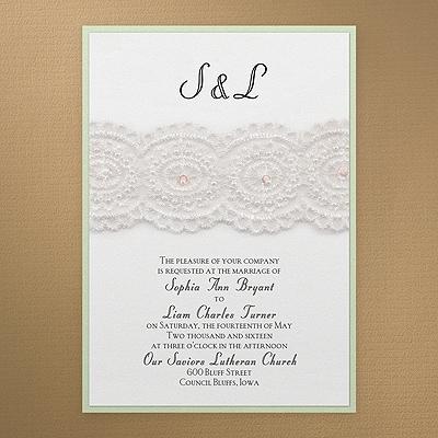 Bridal Lace Pearls Invitation White Shimmer Wedding