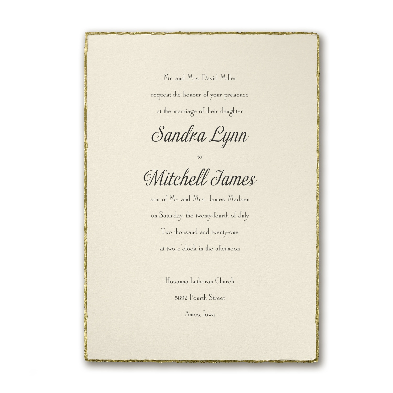 Deckled in Gold - Invitation > Wedding Invitations | Carlson Craft ...