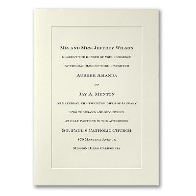 Ecru Panel Folder - Engraved Invitation