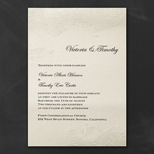 Vintage wedding invitation: Embossed Lace