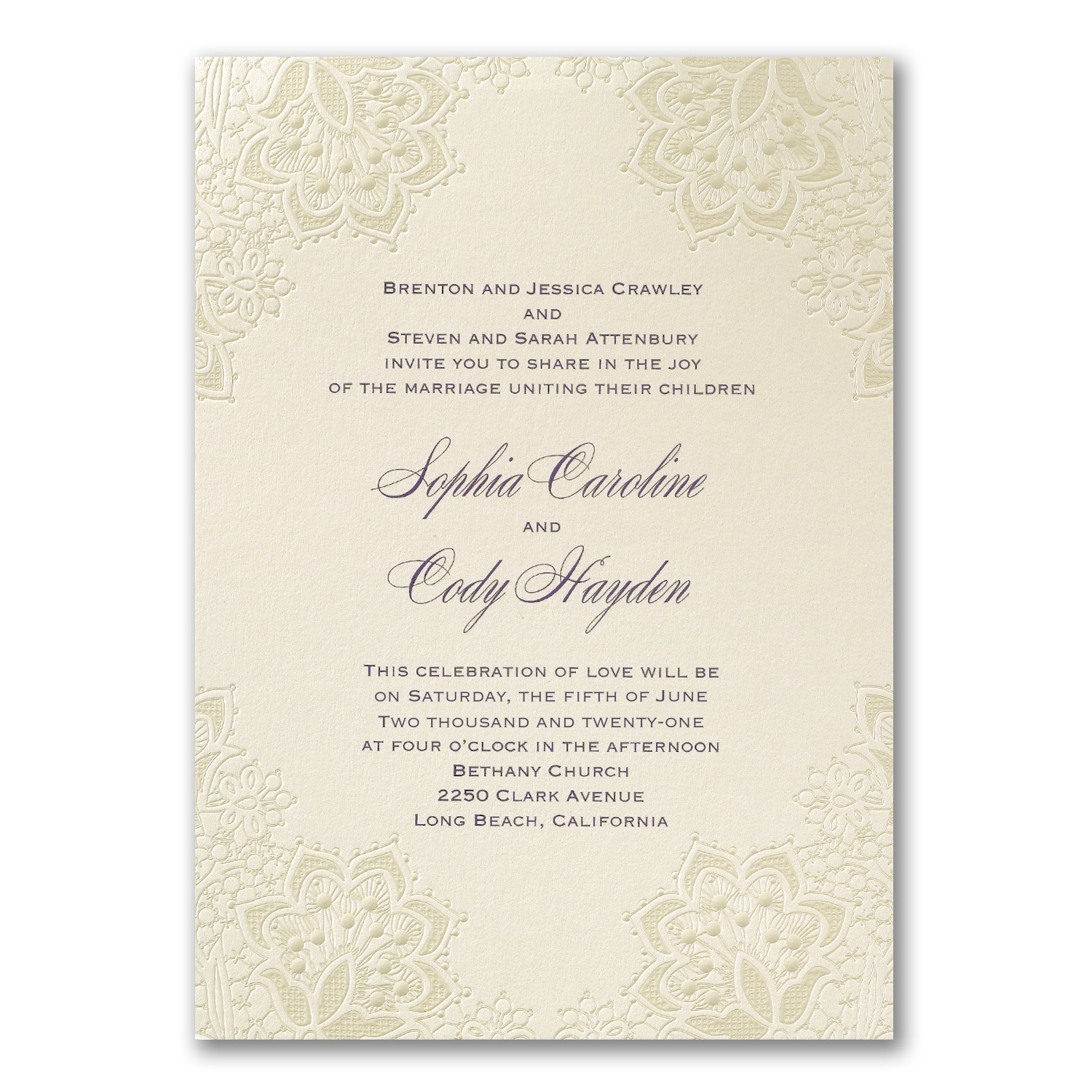 Lace Shimmers Invitation Wedding Invitations Carlson Craft