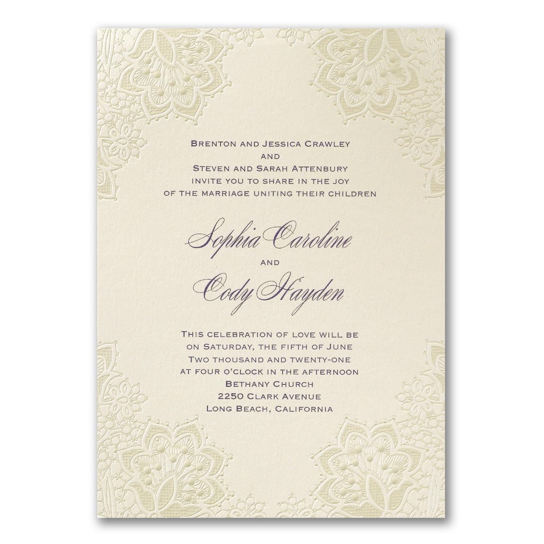 Lace Shimmers Invitation Wedding Invitations Carlson Craft