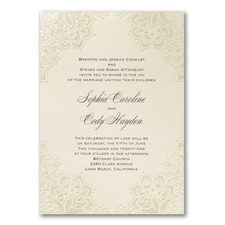 Vintage wedding invitation: Lace Shimmers