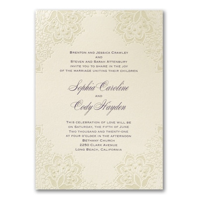 staples wedding invitations lace shimmers invitation gt wedding invitations staples 7666