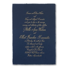 Navy Deckle - Invitation