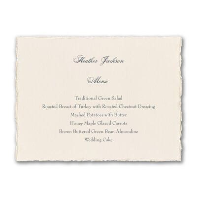 Ecru Pearl Deckle Menu Card - Horizontal