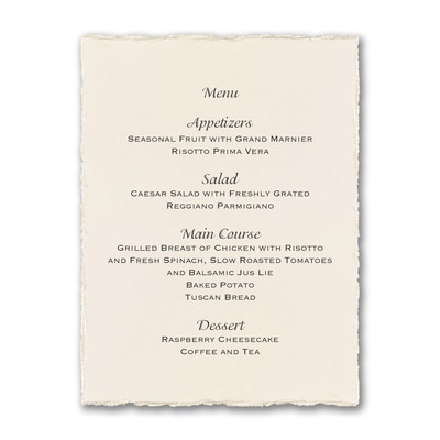 Ecru Pearl Deckle Menu Card - Vertical