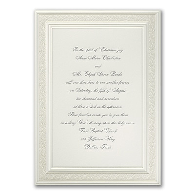 Vintage Ecru - Engraved Invitation
