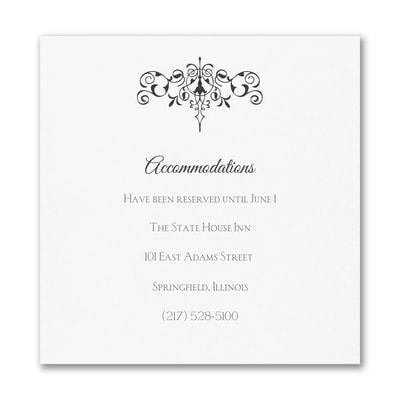 Monogram Flourish - Accommodation Card - White