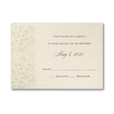 Lace Shimmers - Response Card and Envelope