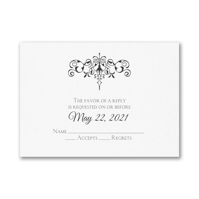 Monogram Flourish - Response Card and Envelope - White