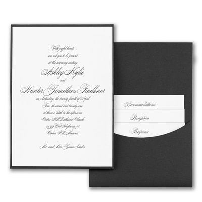 Joyful Details - Invitation with Black Pocket - White