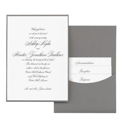 Joyful Details - Invitation with Pewter Pocket - White