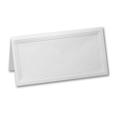 White Triple Panel Place Card - Blank