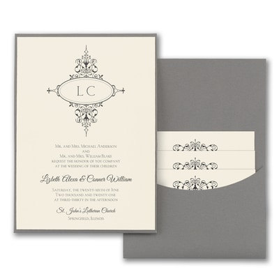 Monogram Flourish - Invitation with Pewter Pocket - Ecru