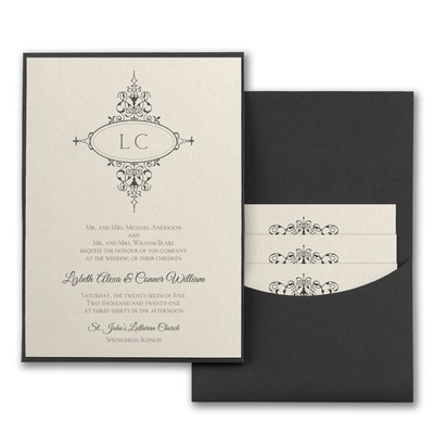 Monogram Flourish - Invitation with Black Pocket - Ecru Shimmer