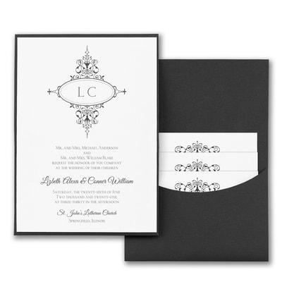 Monogram Flourish - Invitation with Black Pocket - White