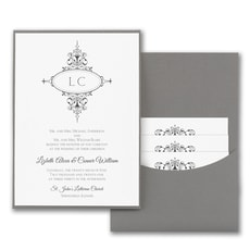 Monogram Flourish  - Pocket Invitation