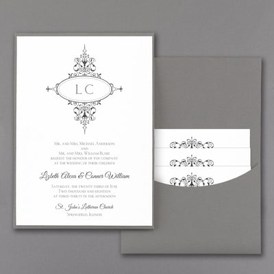 Monogram Flourish - Invitation with Pewter Pocket - White