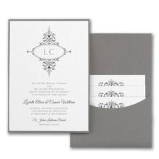 Monogram Flourish - Invitation with Pewter Pocket - White Shimmer