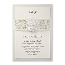 laser cut invitation: Rose Embrace