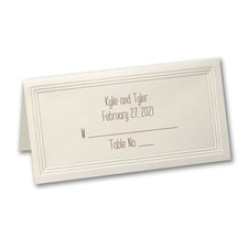 Ecru Triple Panel Place Card - Printed