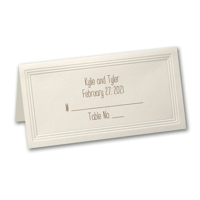 ecru triple panel place card printed - Printed Place Cards