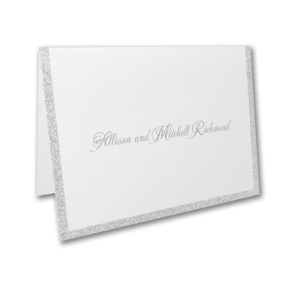 Silver Border Elegance - Note Card and Envelope