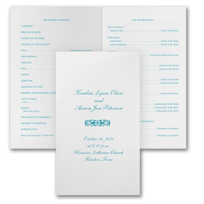 Designed Wedding Program - White