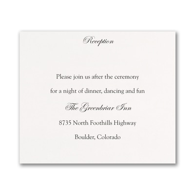 White Reception Card