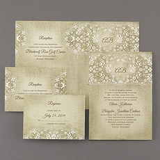 All In One Invitation: Floral Burlap