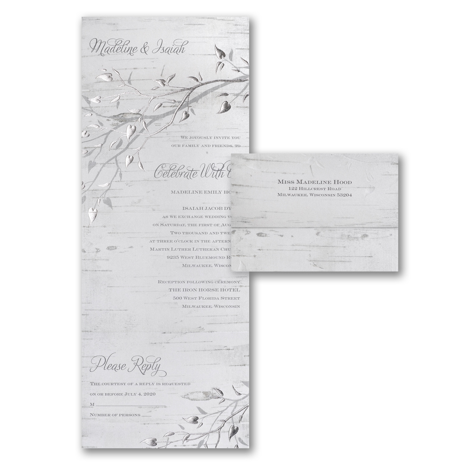 Silver Bark Seal n Send Wedding Invitations Staples