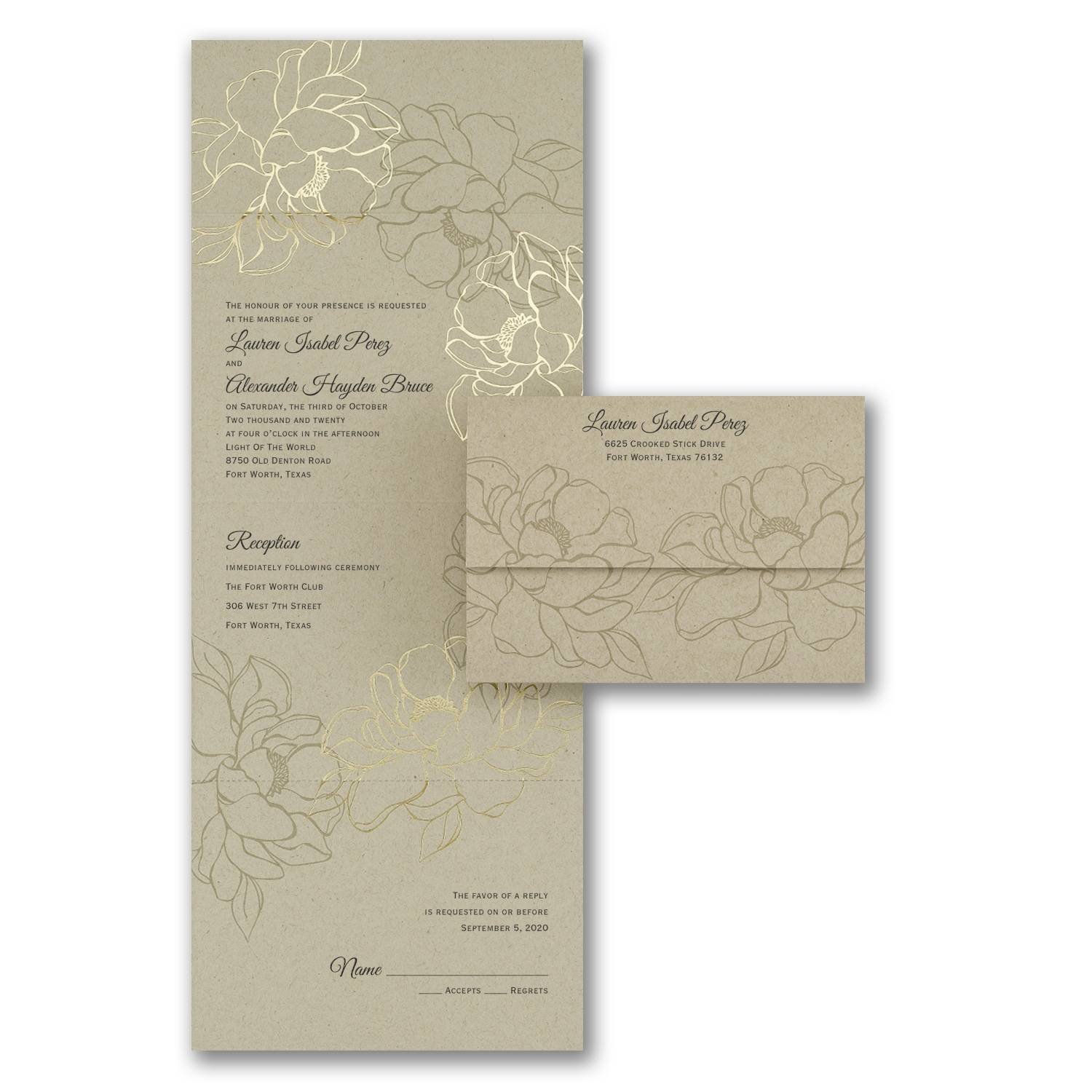 Seal And Send Wedding Invitations.Natural Gold Seal N Send Wedding Invitations Carlson