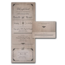 With RSVP Cards: Shimmering Wood