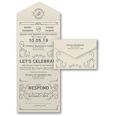 Seal And Send Wedding Invitations.Deco Monogram Seal N Send Ecru Shimmer Wedding