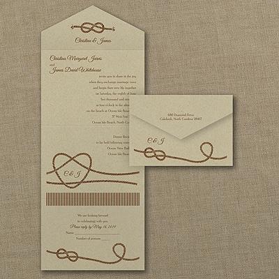 Tie That Knot Seal N Send Kraft Wedding Invitations Carlson