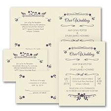 Wedding Flowers - Sep 'n Send Invitation - Ecru
