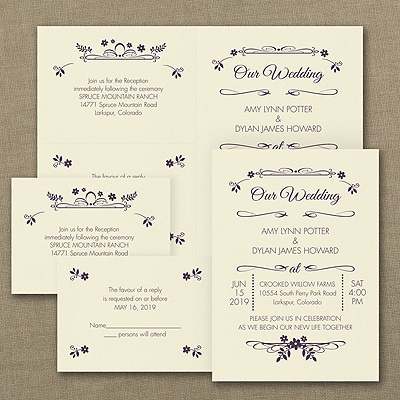 Wedding Flowers - Sep 'n Send Invitation - Ecru
