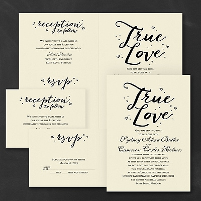 Love That's True - Sep 'n Send Invitation - Ecru