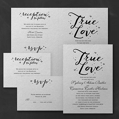 Love That's True - Sep 'n Send Invitation - Silver Shimmer
