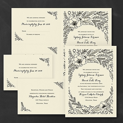 Flower Surround - Sep 'n Send Invitation - Ecru