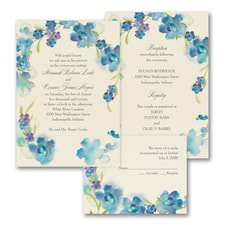 Watercolor Flowers - ValStyle Invitation - Blueberry - Ecru