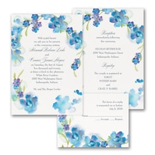 Watercolor Flowers - ValStyle Invitation - Blueberry - White