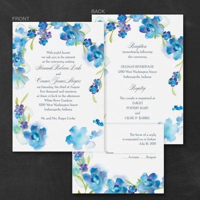 Watercolor Flowers - ValStyle Invitation - Blueberry