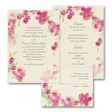 Watercolor Flowers - ValStyle Invitation - French Kiss - Ecru