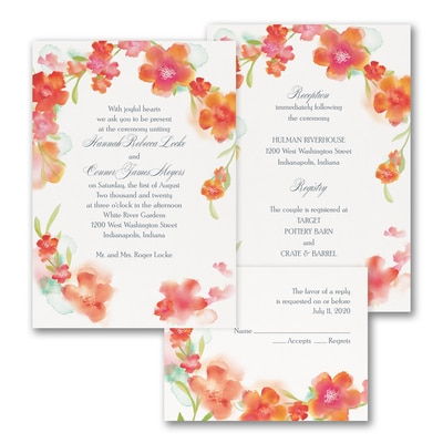 Watercolor Flowers - ValStyle Invitation - Mango - White