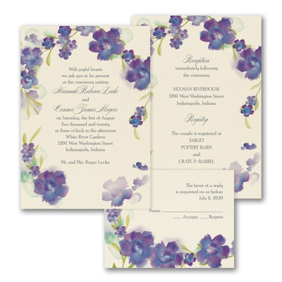 Watercolor Flowers - ValStyle Invitation - Majestic - Ecru