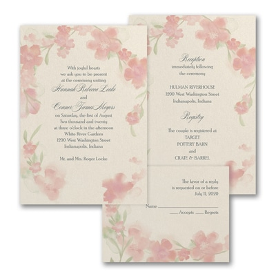 Watercolor Flowers - ValStyle Invitation - Rosewood - Ecru
