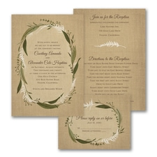 Burlap Wreath - ValStyle Invitation - Ecru