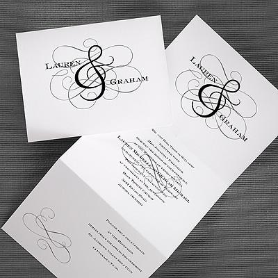 Grand Ampersand - Z-Fold Invitation - White